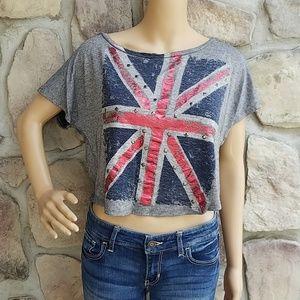 delia's Union Jack Crop Shirt